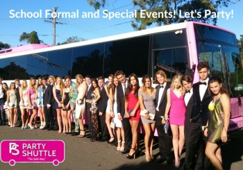 school formal in pink party bus